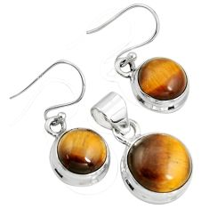 15.31cts natural brown tiger's eye 925 silver pendant earrings set r8879