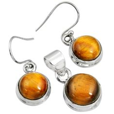 925 silver 15.23cts natural brown tiger's eye round pendant earrings set r8880