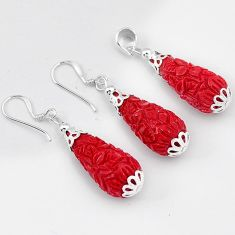 ANTIQUE RED CORAL DROP 925 STERLING SILVER FLOWER PENDANT EARRINGS SET H41878