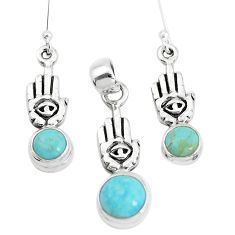Arizona mohave turquoise silver hand of god hamsa pendant earrings set p38599
