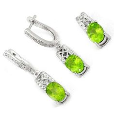 AWESOME NATURAL GREEN PERIDOT OVAL TOPAZ 925 SILVER PENDANT EARRINGS SET H20781