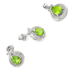 AWESOME NATURAL GREEN PERIDOT TOPAZ 925 STERLING SILVER SET JEWELRY H20807