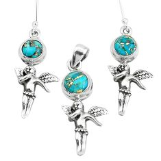 Blue copper turquoise 925 silver angel wing fairy pendant earrings set p38544