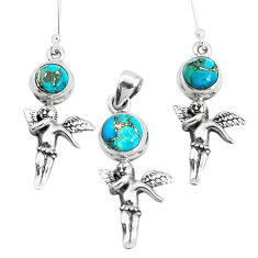 Blue copper turquoise 925 silver cupid angel wing pendant earrings set p38587