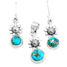 5.35cts blue copper turquoise 925 silver flower pendant earrings set p38508