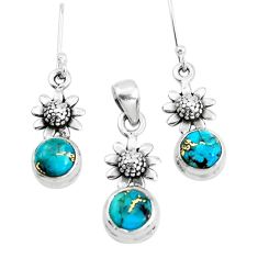 5.81cts blue copper turquoise 925 silver flower pendant earrings set p38525