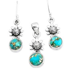 5.62cts blue copper turquoise 925 silver flower pendant earrings set p38546