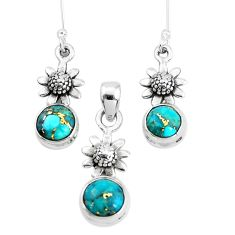 6.02cts blue copper turquoise 925 silver flower pendant earrings set p38595