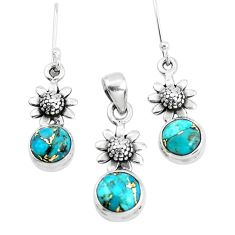 6.32cts blue copper turquoise 925 silver flower pendant earrings set p38596