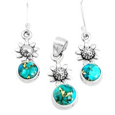 6.53cts blue copper turquoise 925 silver flower pendant earrings set p38621