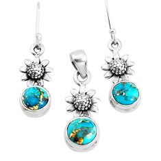 6.15cts blue copper turquoise 925 silver flower pendant earrings set p38622