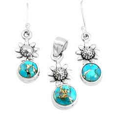 5.98cts blue copper turquoise 925 silver flower pendant earrings set p38650