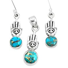 Blue copper turquoise 925 silver hand of god hamsa pendant earrings set p38556