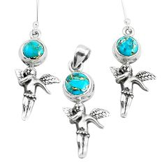 Blue copper turquoise silver cupid wing fairy pendant earrings set p38627