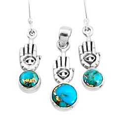 Blue copper turquoise silver hand of gods hamsa pendant earrings set p38644