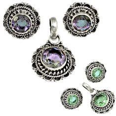 Color changeable alexandrite (lab) 925 silver pendant earrings set h92303