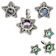 Color changeable alexandrite (lab) 925 silver pendant earrings set h92312