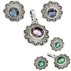 Color changeable alexandrite (lab) 925 silver pendant earrings set jewelry j1429