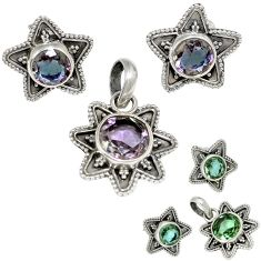 Color changeable alexandrite (lab) round 925 silver pendant earrings set h92305