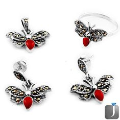 4.37cts CORAL MARCASITE BUTTERFLY 925 SILVER RING EARRINGS PENDANT SET F18198