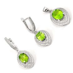 DAZZLING NATURAL GREEN PERIDOT TOPAZ 925 STERLING SILVER SET JEWELRY H20815