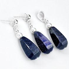 EXCELLENT BLUE GOLDSTONE PEARL DROP 925 SILVER PENDANT EARRINGS SET H41781
