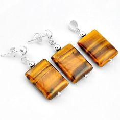 EXCELLENT BROWN TIGERS EYE OCTAGAN 925 SILVER PENDANT EARRINGS SET H41951