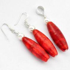 EXCELLENT RED SPONGE CORAL PEARL 925 STERLING SILVER PENDANT EARRINGS SET H41862