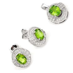 EXOTIC NATURAL GREEN PERIDOT OVAL TOPAZ 925 SILVER PENDANT EARRINGS SET H20788