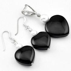 FASHIONABLE BLACK ONYX PEARL 925 SILVER HEART PENDANT EARRINGS SET H41835