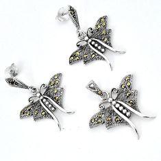 Fine marcasite butterfly 925 sterling silver pendant earrings set jewelry h48165