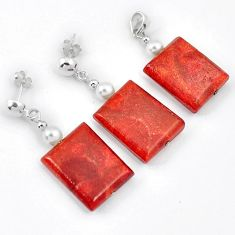 GALLANT RED SPONGE CORAL PEARL 925 SILVER OCTAGAN PENDANT EARRINGS SET H41867