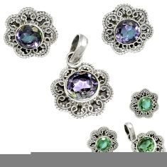 Green alexandrite (lab) 925 sterling silver pendant earrings set jewelry j1383