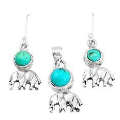 Green arizona mohave turquoise 925 silver elephant pendant earrings set p38510