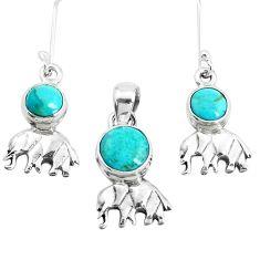 Green arizona mohave turquoise 925 silver elephant pendant earrings set p38623