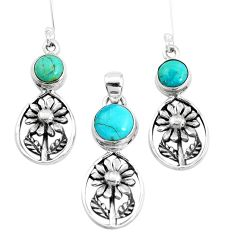 Green arizona mohave turquoise 925 silver flower pendant earrings set p38548