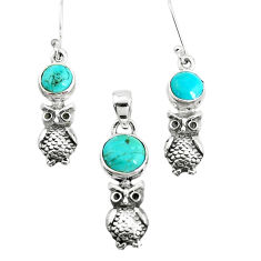 Green arizona mohave turquoise 925 silver owl pendant earrings set p38614