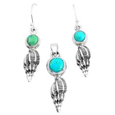 6.42cts green arizona mohave turquoise 925 silver pendant earrings set p38576