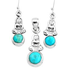 Green arizona mohave turquoise silver buddha charm pendant earrings set p38583