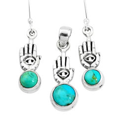 Green arizona mohave turquoise silver hand of god pendant earrings set p38528