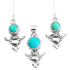 5.01cts green arizona mohave turquoise silver owl pendant earrings set p38592