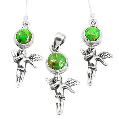 Green copper turquoise 925 silver cupid wing pendant earrings set p38565