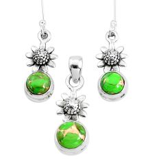 5.62cts green copper turquoise 925 silver flower pendant earrings set p38545