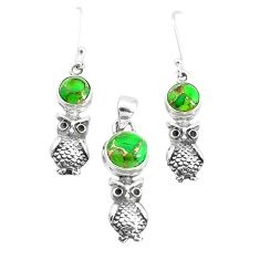 6.42cts green copper turquoise 925 silver owl pendant earrings set p38638