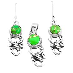 5.81cts green copper turquoise 925 silver scorpion pendant earrings set p38513
