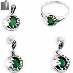 10.35gms GREEN MALACHITE HALF MOON 925 SILVER RING EARRINGS PENDANT SET F20363