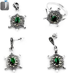 GREEN MALACHITE TORTOISE MARCASITE 925 SILVER RING EARRINGS PENDANT SET E82199