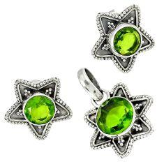Green peridot quartz 925 sterling silver pendant earrings set jewelry h92316