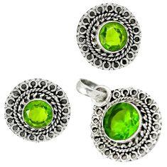 Green peridot quartz 925 sterling silver pendant earrings set jewelry h92325