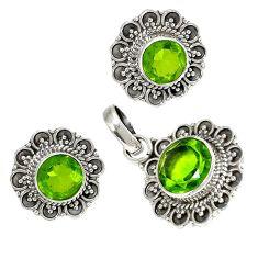 Green peridot quartz 925 sterling silver pendant earrings set jewelry h92334